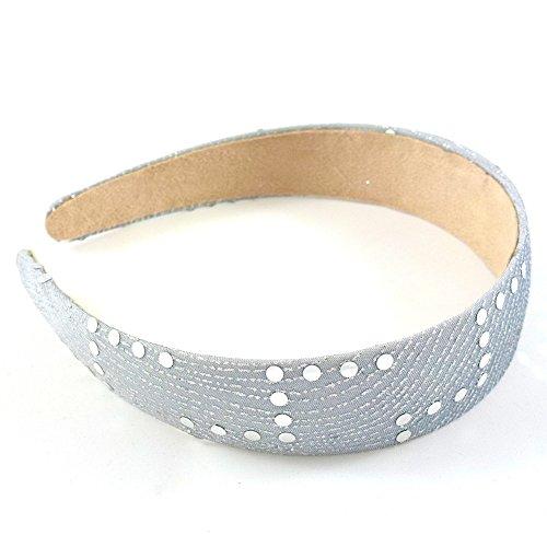 rougecaramel - Accessoires cheveux - Serre tête/headband large avec motif argenté 3cm - gris