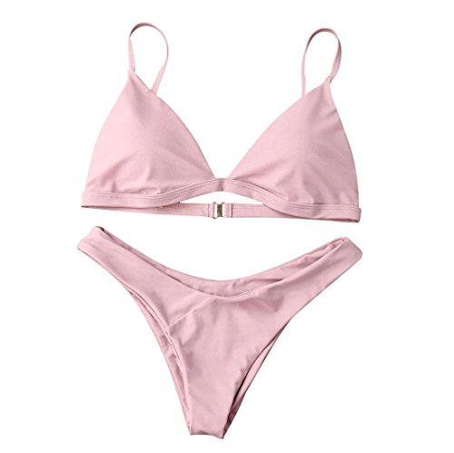Bikini Set Damen Badeanzug Bademode Frauen Push-up Gepolsterten BH Beach Swimsuit Beachwear Von Xinan (S, Rosa Sexy) (Schwimmen Unten Rock)