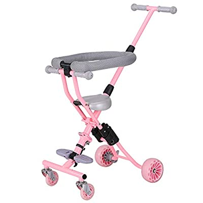 Strollers NAUY @ Triciclo Infantil Trolley Plegable de bebé Ligero de 4 Ruedas Sillas de Paseo