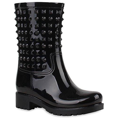Bequeme Damen Stiefel Gummistiefel Regen Schuhe Profil Sohle Wasserdicht Schwarz
