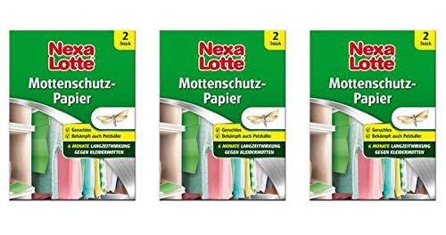 Nexa Lotte® Mottenschutz-Papier 3 Schachteln - Wirkt vorbeugend gegen Mottenlarven und Pelzkäferlarven