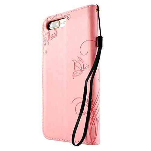 iPhone 8 Hülle, Fraelc iPhone 7 Premium Kunstleder Brieftasche Case im Bookstyle Flip Wallet Cover mit Kartenfächer und Standfunktion Leder Hülle für iPhone 7 / iPhone 8 Tasche in Schmetterling Blume  Rosa