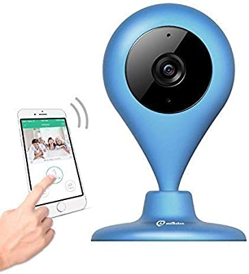 miSafes Vigilabebés Seguridad Cámara Interior CMOS WIFI HD 120° Ángulo Amplio Visión Luz Baja con Funda Silicona Azul Marino...