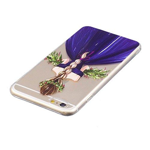 iPhone 6 Plus/6S Plus Coque, Voguecase TPU avec Absorption de Choc, Etui Silicone Souple Transparent, Légère / Ajustement Parfait Coque Shell Housse Cover pour Apple iPhone 6 Plus/6S Plus 5.5 (Corgi p Fille en jupe violet 01