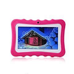 Idea Regalo - Womdee Tablet per Bambini, 7 Pollici Tablet Google Android 4.4 con Custodia in Silicone, Quad Core, 8 GB, 1.6GHz, WiFi, Doppia Fotocamera (Rosso)