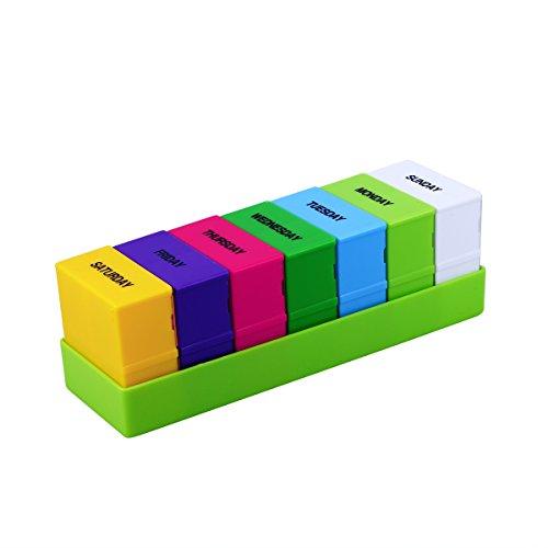 ROSENICE Pill Box 7 Tag 28 Fächer Pille Fällen Vier-pro-Tag wöchentlich Pille Organizer Cases (grün) -