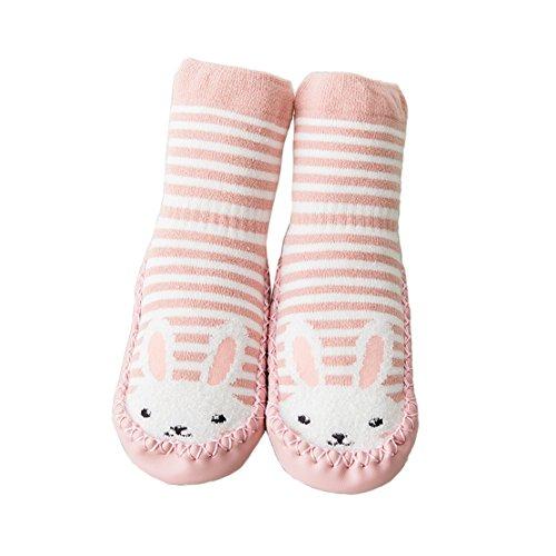 zhenghewyh Unisex-Baby Socken Hüttenschuh Söckchen Mit Ledersohle Anti-Rutschsohle (S: 10-18 Monate, Rosa)