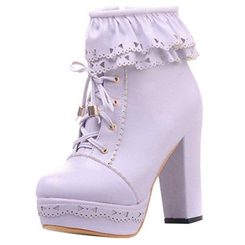 Artfaerie Damen Plateau Ankle Boots Blockabsatz High Heels Stiefeletten mit Schnürung und Reißverschluss Süße Lolita Schuhe(EU 37,Violett)