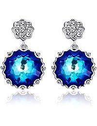 33f815c47f7d Bonlavie - Pendientes de flores con cristales azules de Swarovski chapados  en oro