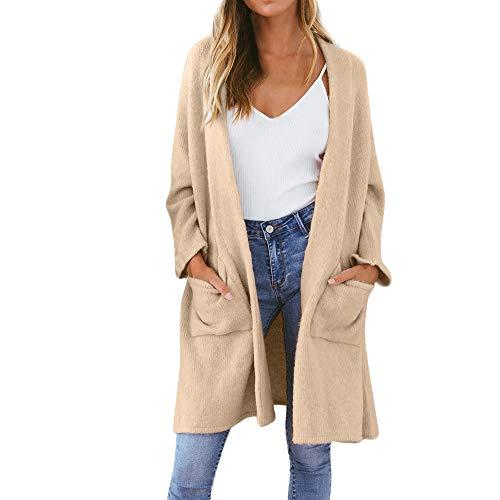 iHENGH Damen Kardigan Top,Ladies Fashion Winter Strickjacke Coat Tops Elegant Dicke Warme Oberbekleidung Outwear Jacke Mantel (EU-38/CN-L,Beige)