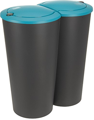 50-litre-double-recycling-waste-bin-duo-with-push-button-lid-disposal-dustbin-turquoise
