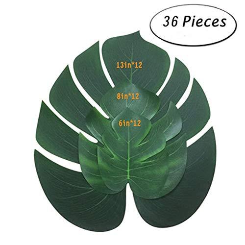 ty-Dekoration, künstliche Pflanze Tropische Palme Monstera Blätter Simulation Blatt für Hawaiian Luau Safari Party Dschungel Strand Thema BBQ Geburtstag Party Dekorationen 36 Pcs ()