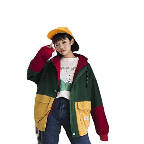 VITryst Women's BF Style Coat Color Block Corduroy Outwear Varsity Jackets Blackish Green M Pleather Varsity Jacket