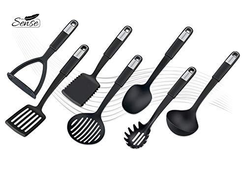 FACKELMANN Küchenhelfer-Set Sense, Kochbesteck aus hochwertigem Kunststoff mit langlebigem und rutschfestem Soft-Touch-Griff, (Farbe: Schwarz/Silber), Menge: 1 x 7er Set - 2