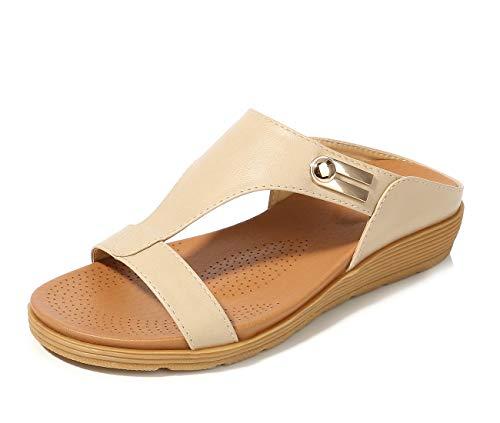 APTRO Damen Pantoletten Flache Sommer Sandalen Outdoor 521 Weiß 40 EU (Tag:41) -