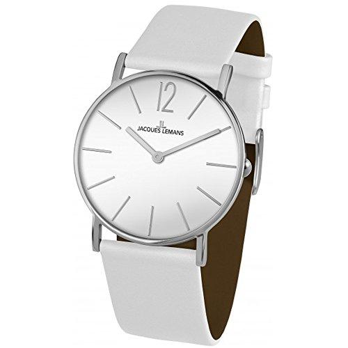 Jacques Lemans York Unisex 40mm Bracelet Cuir Blanc Quartz Montre 1-2030B
