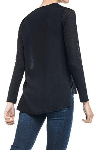 Salsa - Shirt, langärmelig, mit Raundhalsausschnitt, mit Verzierung, vorne mit Glanzeffekt - Damen Schwarz