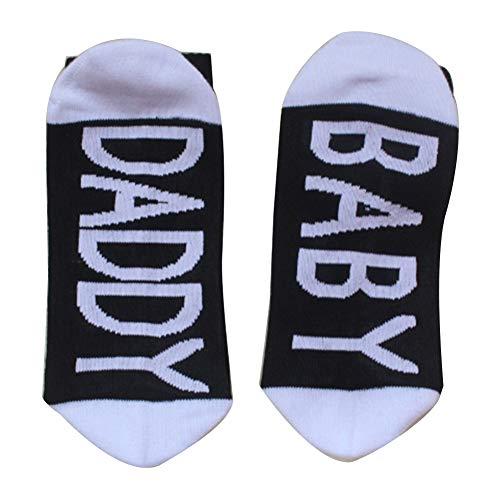 beiguoxia Einfache Baby Mama Papa Brief Streifen atmungsaktive Baumwolle Unisex elastische Mittelrohrsocken Schwarz