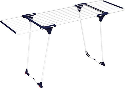 Gimi aliante tt stendibiancheria estensibile da pavimento, a ponte, con ruote, acciaio/alluminio, bianco/blu, 176 x 60 x 90.5 cm