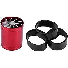 Qiilu Turbonador de admisión de aire de auto Aluminio Turbina de doble ventilador Sobrealimentador Gas Fuel