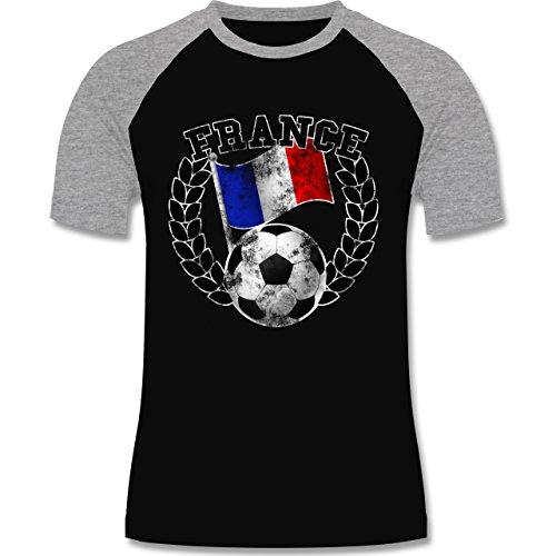 EM 2016 - Frankreich - France Flagge & Fußball Vintage - zweifarbiges Baseballshirt für Männer Schwarz/Grau Meliert