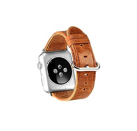X-super Apple Watch Band véritable de Crazy Horse Cuir Bracelet de montre bracelet de remplacement Bracelet avec adaptateur