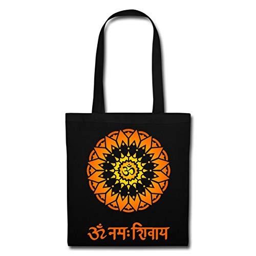 Spreadshirt OM Namah Shivaya Sanskrit Zeichen Stoffbeutel, Schwarz