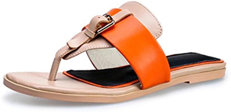 deslizadores de las sandalias de las mujeres de piel de mujer sandalias de tacón bajo y zapatillas de cabeza cuadrada...