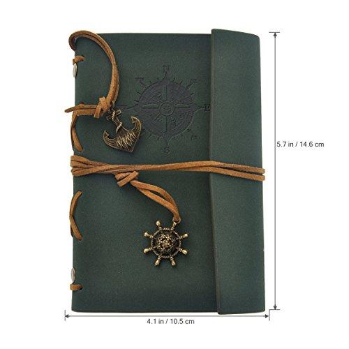 Leder Ringbucheinlagen Zeichenfolge gebunden leeren Notebook Journal Reisetagebuch 10.5 x 14.6cm (Notebooks Journals)