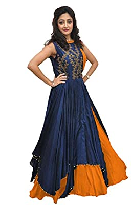 Rudra zone Women's Banglori Gown with Jacket (RZF017, Navy Blue, Medium)