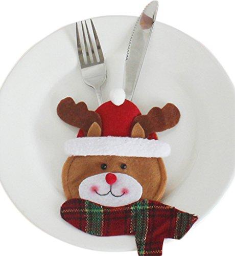 Laat - sacchetti natalizi portaposate, a forma di babbo natale / pupazzo di neve / alce, # 3, 15 x 10cm