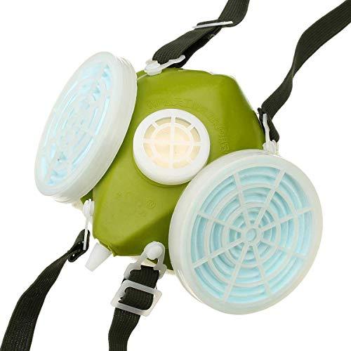 GIlH Industrielles Gas chemische Anti-Staub-Spray-Farbe Respirator Gesichtsmaske Filtergläser Schutzbrillen Set Twin C