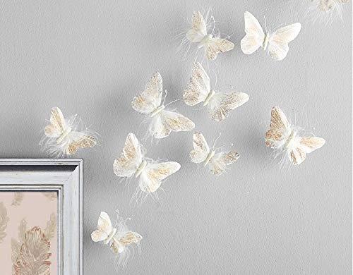 Inspired by Jewel, 3D-Wandsticker für Mädchen, Schmetterlingsmotiv, goldfarben und weiß, für Baby- oder Teenager-Zimmer, 10 Stück