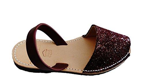Sandales authentiques minorquines, différentes couleurs. Avarcas menorquínas. glitter Glitter vino