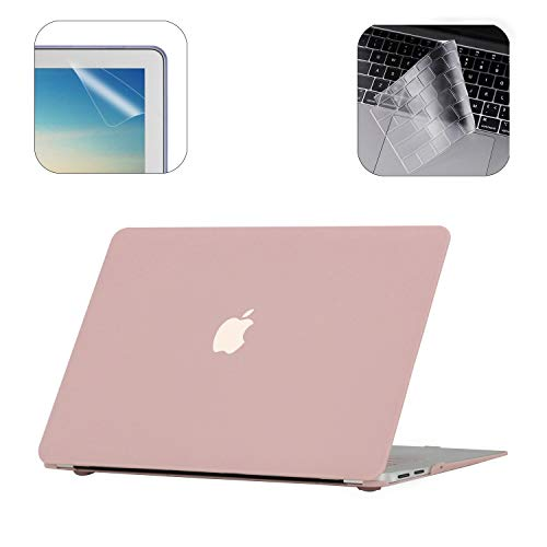 i-Buy Gummierte Harte Schutzhülle Hülle für Apple MacBook Air 13 Zoll (Modell A1932 2018.11 Freigabe) + TPU Tastaturschutz + Schutzfolie- Rose Quartz (Macbook Air 13-zoll-aufkleber)