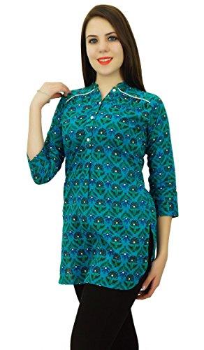 Phagun Imprimé Floral Femmes Porter À Manches 3/4 Casual Top Courtes En Coton Kurti Vêtements Bleu et vert