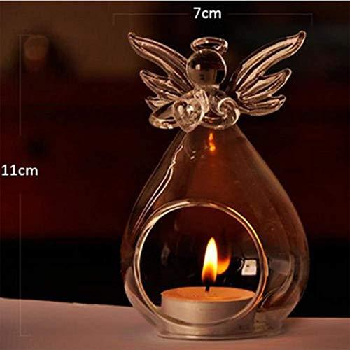 Bravoy Kerzenständer Klassische Engel,Teelichthalter ganz klares Kristallglas Dekoration hängende ideal für Stabkerzen,Stumpenkerzen,Tafelkerzen Taufkerzen und Kommunionkerzen -
