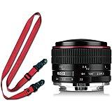 Meike 6,5mm Ultra Wide F/2.0circulaire Objectif Fisheye pour caméras sans miroir E-mount Sony NEX-5N NEX-7F3NEX-5T NEX-5R, NEX-6NEX-3N A3000A7A7R A5000A6000A3500A7S a5100A7II a7R II A7S II + A Meike Camera Street Strap (Red) + chiffon de nettoyage