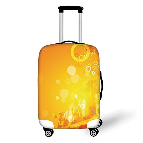 Travel Luggage Cover Suitcase Protector,Orange,Abstract Composition with Circles Dots Artistic Energetic Colors Sunburst Decorative,Orange Yellow White,for TravelM 23.6x31.8Inch -