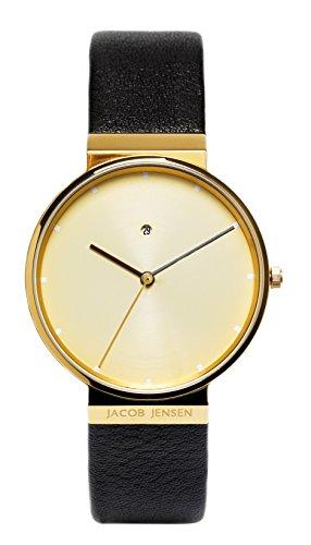 Jacob Jensen New Dimension 845 – Reloj de caballero de cuarzo, correa de piel color marrón