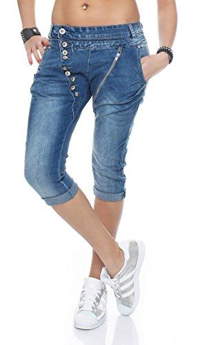 SKUTARI Damen - Haremshose Hüftjeans aus Denim , Farbe Blau , Gr. S (Plus Jeans-shorts Size)