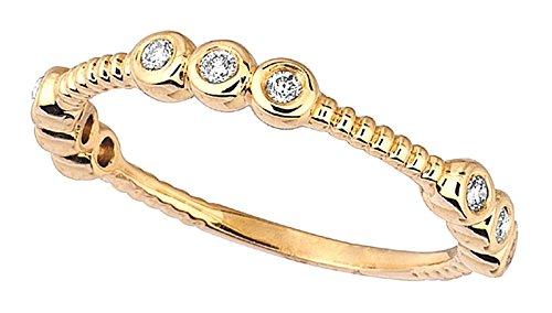 0,25 carati set anniversario anello banda brillante rotondo diamante lunetta in oro 14K nuovo Dimensione
