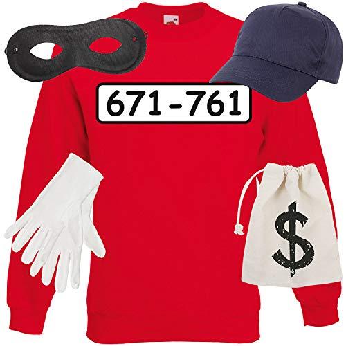 Shirt-Panda Unisex Sweatshirt Panzerknacker Kostüm + Cap + Maske + Handschuhe Verkleidung Karneval SET06 Sweater/Cap/Maske/Handschuhe/Beutel 152 (Kindergröße 12-13 ()