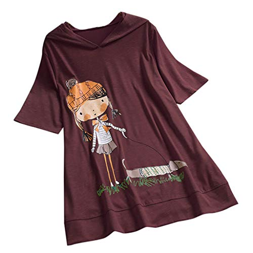 Routinfly Nue Damen Karikaturdruck Mit Kapuze Tops, Frauen Kurzarm Sommer Beiläufige Lose Plus Größe Top T-Shirt Bluse Tunika - Plus Größe Hemdchen