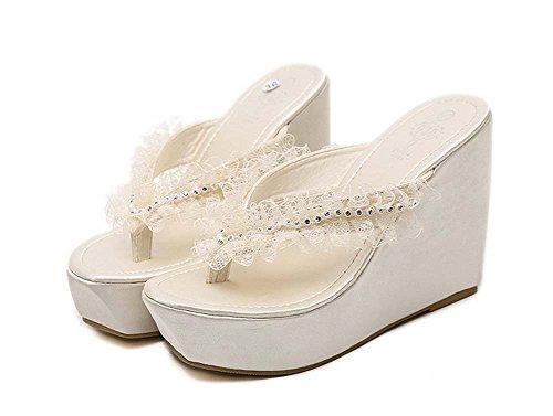 L&Y Scarpe a punta aperta delle donne Bohemian Style Elegante scarpa da loto del pizzo del piede del merletto con il piedino a spina di pesce Sandali ad alto tallone del cuneo Albicocca