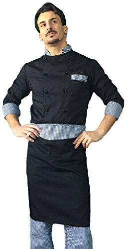 completo cuoco, chef (pantalone+giacca+davantino), vari colori, uomo-donna, Made in Italy, tessile astorino (nero e pied de poule, XXXL)