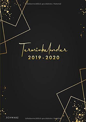 Terminkalender 2019/2020 schwarz: der clevere Wochenplaner von Juli 2019 bis Dezember 2020 / Din A5 / Wochen Notizkalender / Taschenkalender / 18 Monate / Deutsch (Schwarz Wochenplaner)