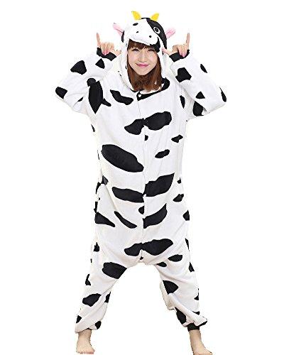 Unisex Onesie Pyjamas Overall Einteiler/Pyjama Schlafanzug Für Erwachsene Kühe (Schlafanzug Einteiler Kostüm)