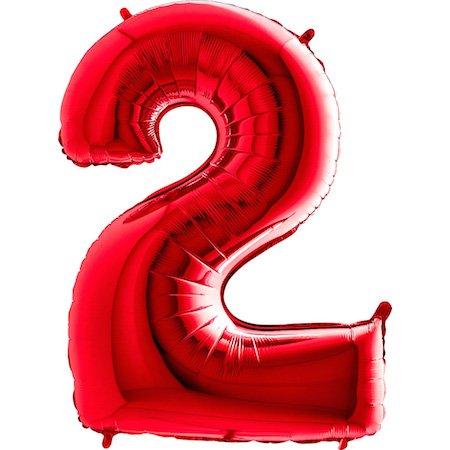 on Zahl 2 (Rot) - XXL Riesenzahl 100cm Ballon - Helium Luftballons für Geburtstag, Partydeko, Hochzeit (Zahl 0, Silber) (Rot Folienballons)