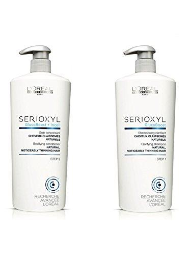 Loreal Serioxyl Sistema di perdita di capelli ispessimento Shampoo e Conditioner 1000ml Duo Salon, con pompe - Starter Kit Sistema